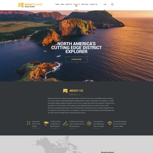 Gold website with the title 'Gold Mining Company Website'