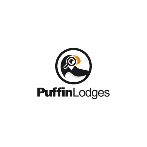 Magnifying glass logo with the title 'Puffin Lodges'