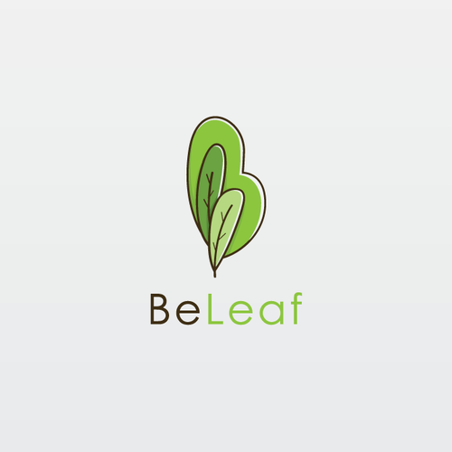 Brown and green logo with the title 'B+leaf logo'
