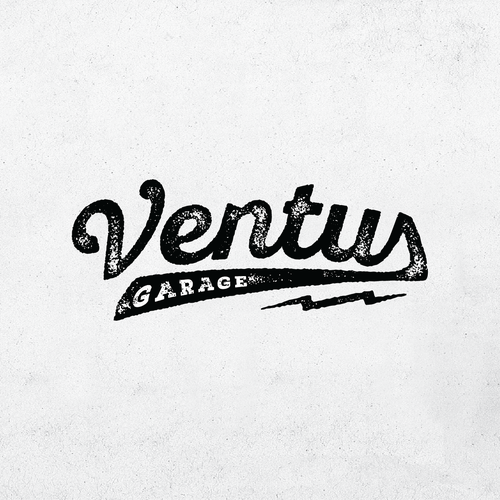 Weathered logo with the title 'Vintage garage logo'