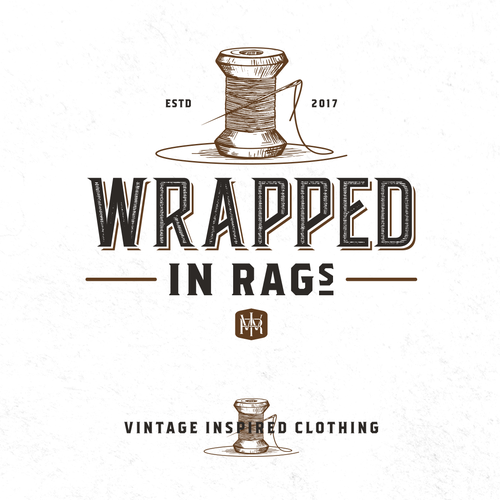 Needle logo with the title 'Logo for Wrapped in RAGs'