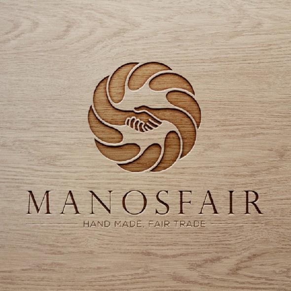 Handshake logo with the title 'Manosfair logo'