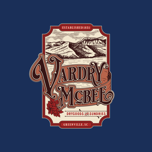 Apothecary logo with the title 'Vintage hand-drawn logo design for Vardry McBee'