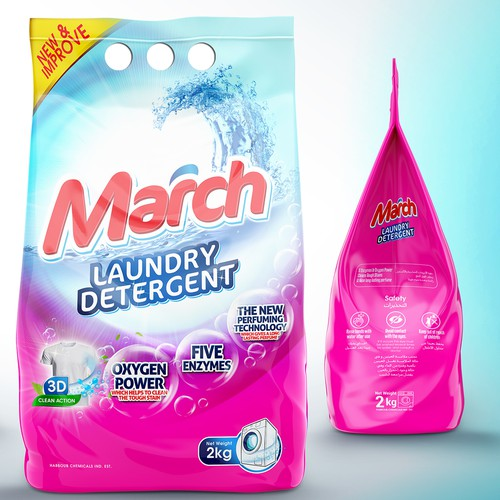 Feminine packaging with the title 'Design packaging for laundry Detergent Powder'