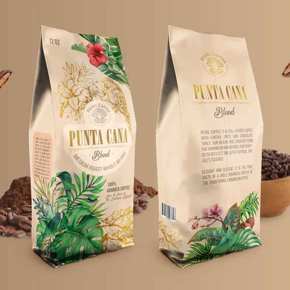Parrot design with the title 'Coffee packaging design'