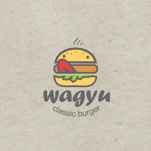 Delicious logo with the title 'Delicious logo concept for wagyu burger'