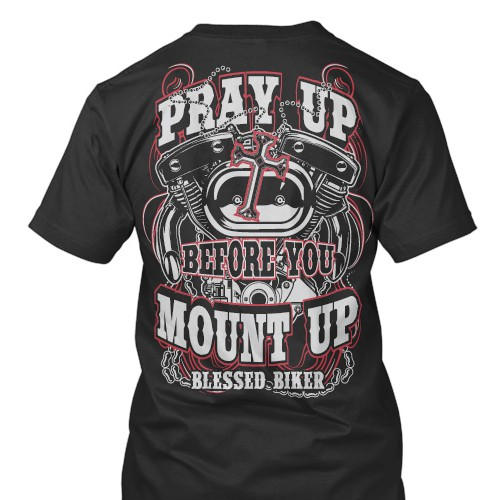 Biker t-shirt with the title 'Blessed Biker'