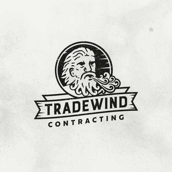 Greek mythology design with the title 'Tradewind Contracting'