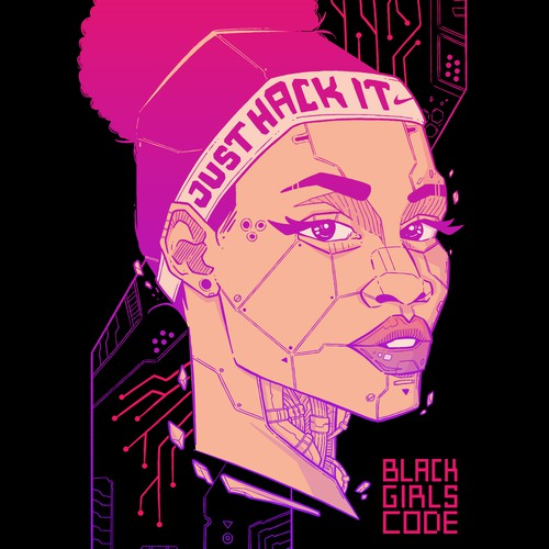 Robot illustration with the title 'Just Hack It - Black Girls Code x Nike'