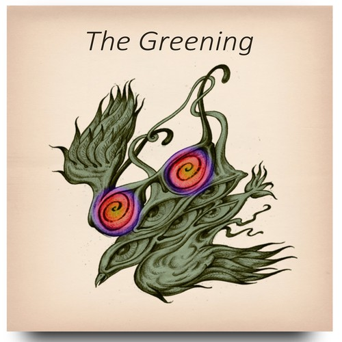 Surreal illustration with the title 'LP the greening'