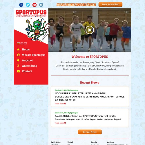 Sports website with the title 'Web design for Sports School Kids'