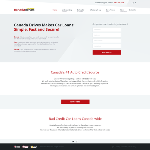 Design firm website with the title 'Homepage For Canadian Auto Loan Website'