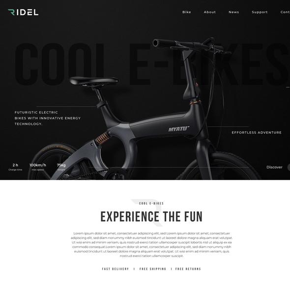 Bike shop design with the title 'E-Bikes Website Design'