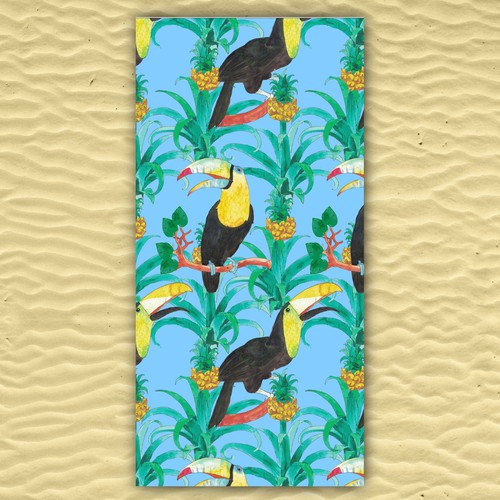 Toucan design with the title 'Tropical fabric pattern for bath towel'