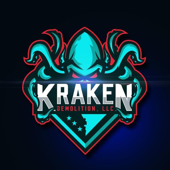 Demolition logo with the title 'Kraken Demolition, LLC'