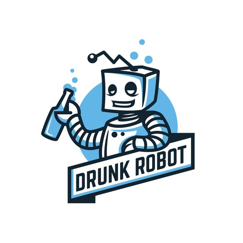 Happiness design with the title 'Drunk Robot'