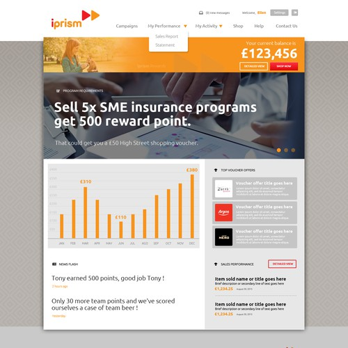Red and gray design with the title 'Insurance Programs reward website'
