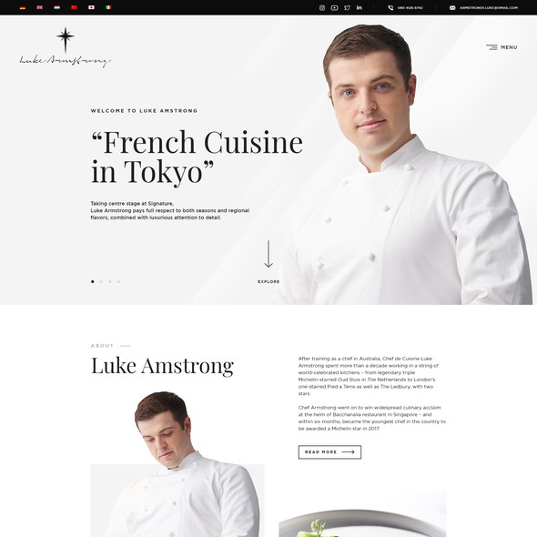 Personal website with the title 'Web Design for Chef Luke Amstrong'