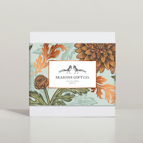 Plant design with the title 'Seasons Gift Co. - Gift boxes design'