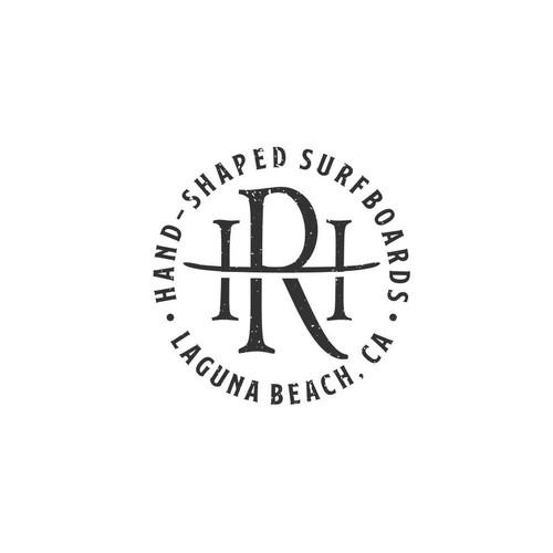 Longboard logo with the title 'HR Custom Classic Surfboard'