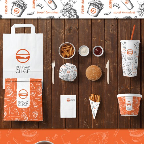 Burger design with the title 'Packaging for Burger Chef'