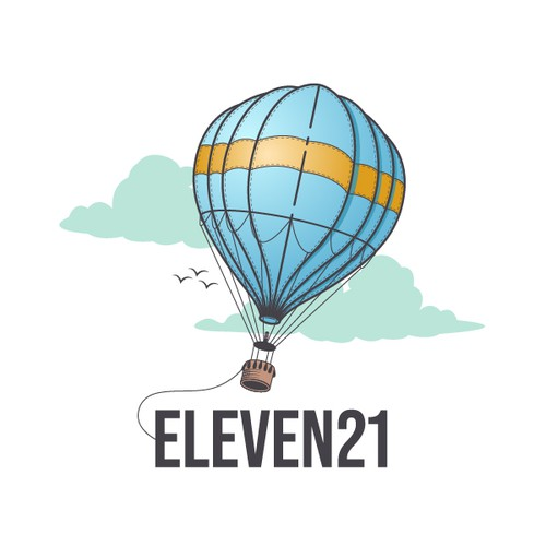 Hot air balloon logo with the title 'Illustrative logo design for a educational company'