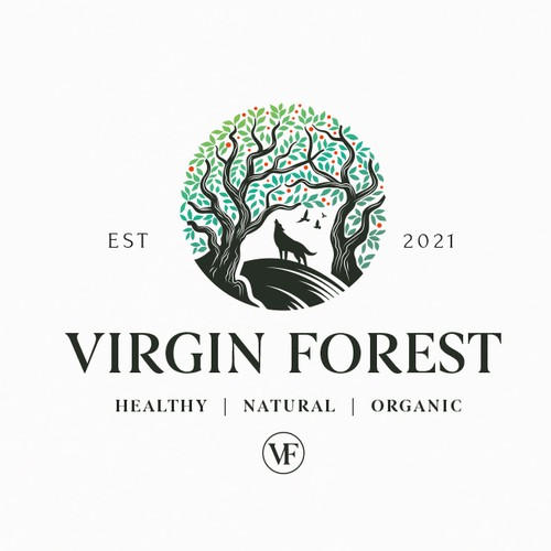 Wolf logo with the title 'Virgin Forest '