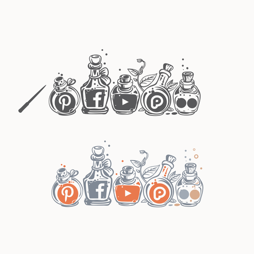 Magic design with the title 'Social media icons'