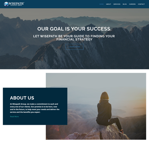 Digital website with the title 'Professional financial group website design'