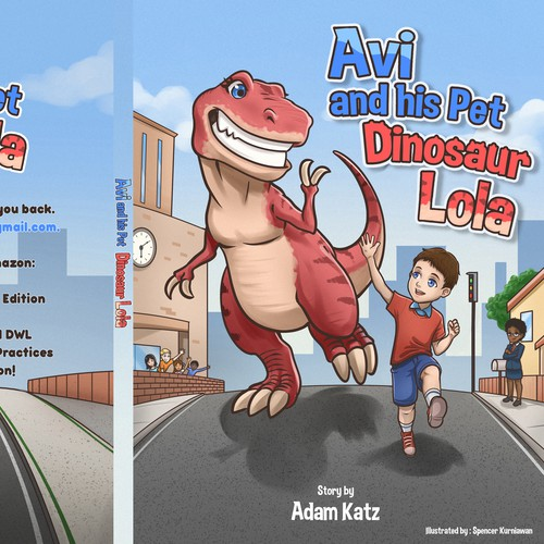 Story illustration with the title 'Avi and his pet Dinosaur Lola'