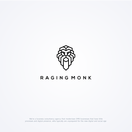 Line art logo with the title 'Raging Monk'