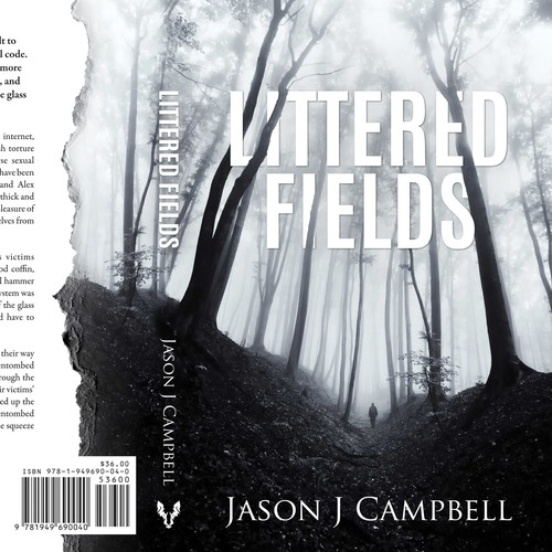 Suspense book cover with the title 'Littered Fields - Psychological Thriller'