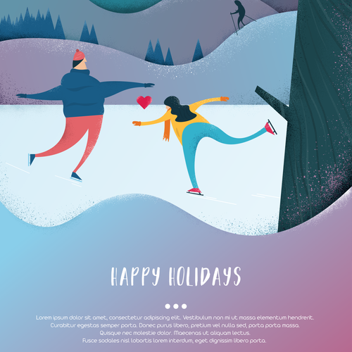 Skating design with the title 'Happy Holidays - Greeting Card'