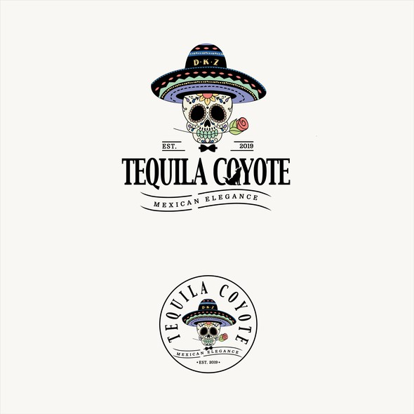 Mexican restaurant logo with the title 'tequila coyote'