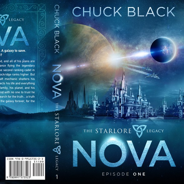 Futuristic book cover with the title 'NOVA - The Starlore Legacy'