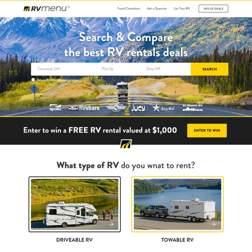 Blog website with the title 'Homepage Design for a Popular RV Rentals Website'