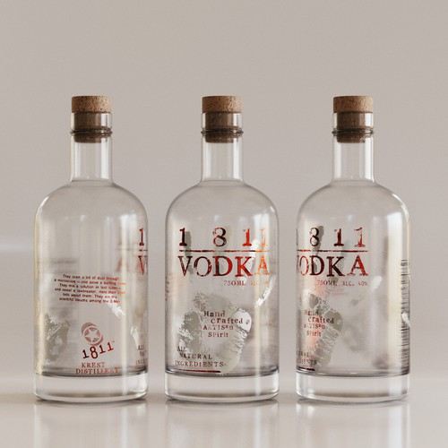 Vodka design with the title 'Label for High End Artisan Vodka'