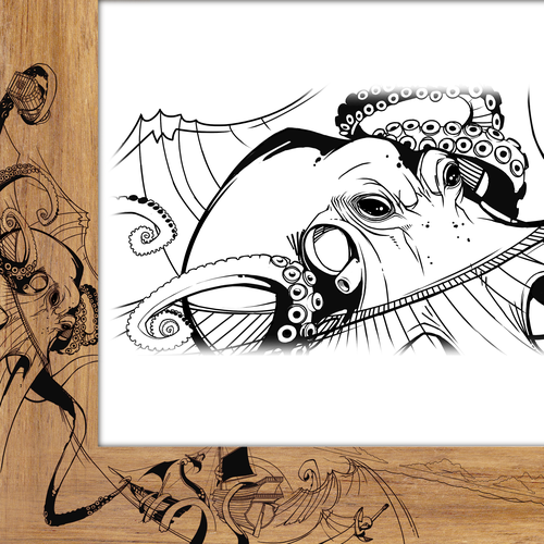Ink illustration with the title 'Kraken and seascape drawing='