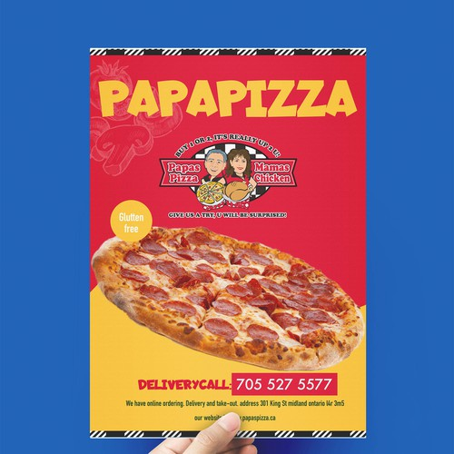 Pizza box design with the title 'brochure'