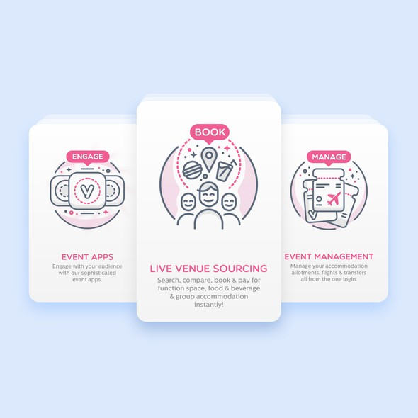 Outline design with the title 'iVvy - Iconography Theme'