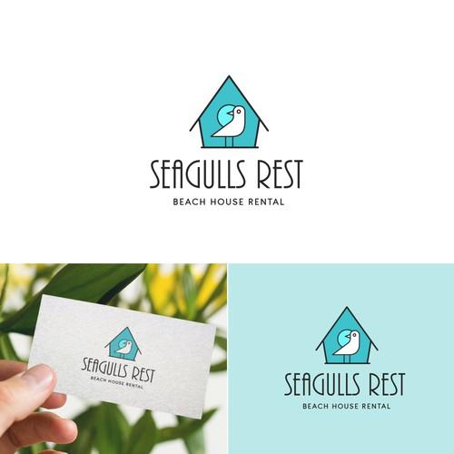 Seagull logo with the title 'Beach Rental Logo Design'