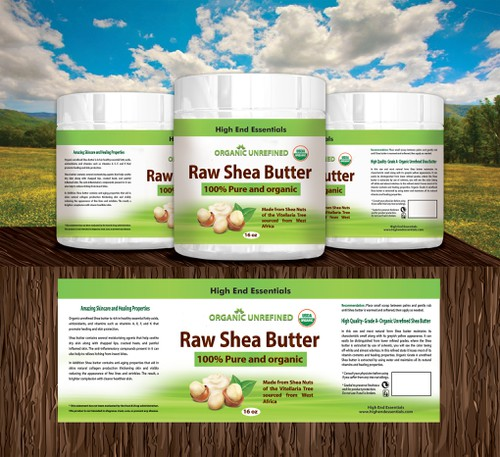 Butter label with the title 'Raw shea butter'