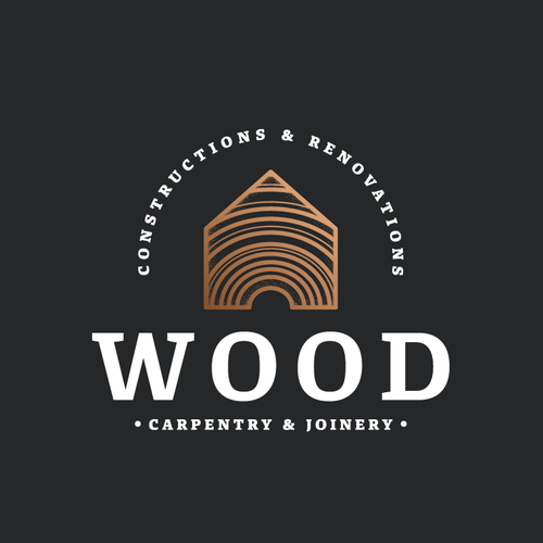 Carpentry design with the title 'Sophisticated and unique logo for construction and renovation firm.'