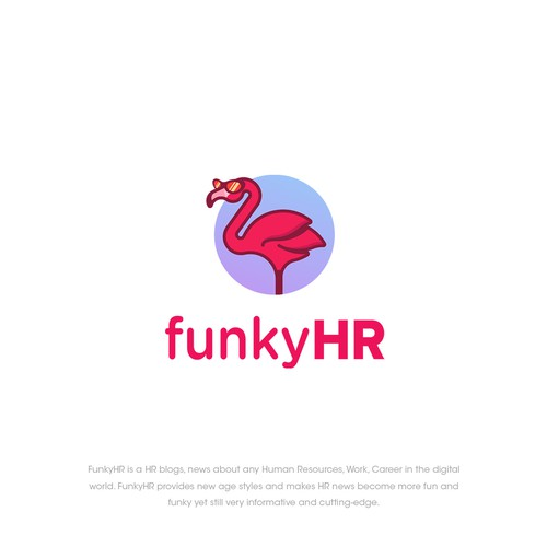 Flamingo logo with the title 'funkyHR Logo'