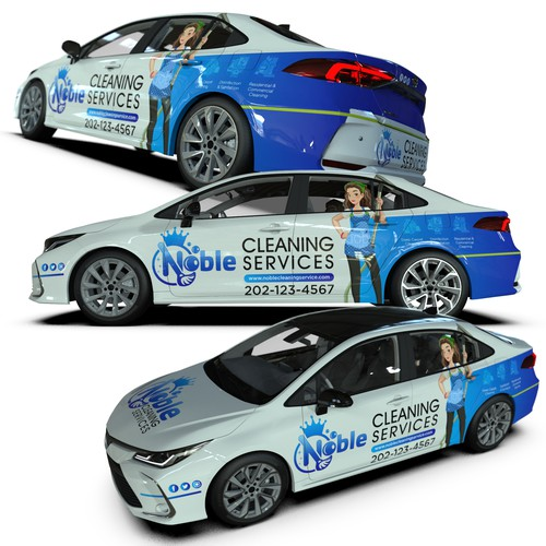 Toyota design with the title 'Car wrap - noble cleaning'