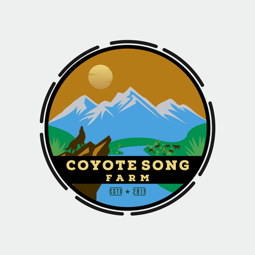 Coyote logo with the title 'Coyote song farm vintage handrawn logo design'