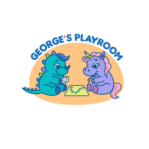 Cute animal logo with the title 'Logo for children's board game center (age is 2-8)'