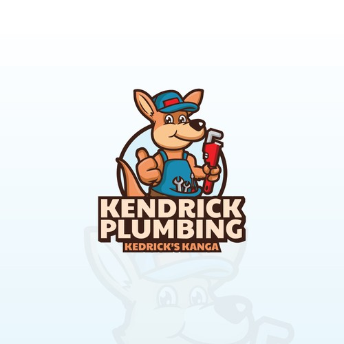 Kangaroo design with the title 'Kendrick Plumbing Logo'
