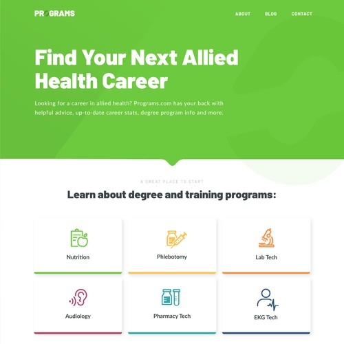 Healthcare design with the title 'Clean, simple, responsive website design for a health career advice website'