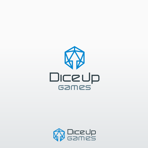 Video game logo with the title 'Dice Up Games'